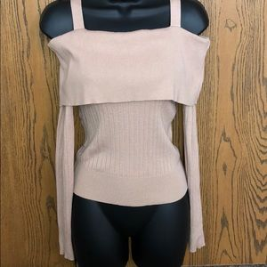 Nude off the shoulder long sleeve top